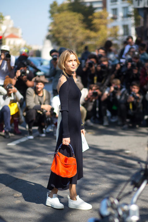 paris fashion week street style look de pernille black midi dress