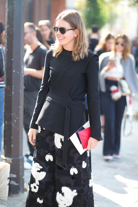 paris fashion week street style wrap front tie front top printed skirt
