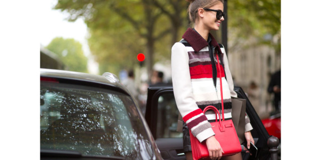 fall coat stripes shearling texture