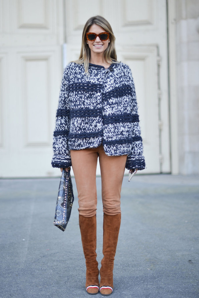 helena borden suede boots riding pants marled knit chunky knit boho knit helena borden Paris-Fashion-Week-Day-2-1