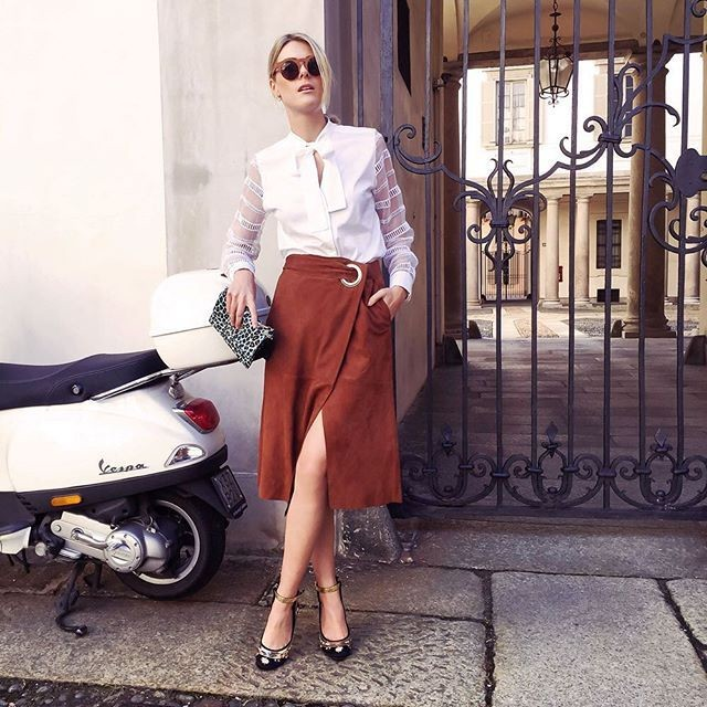 suede wrap skirt, tie neck blouse fall work outfit