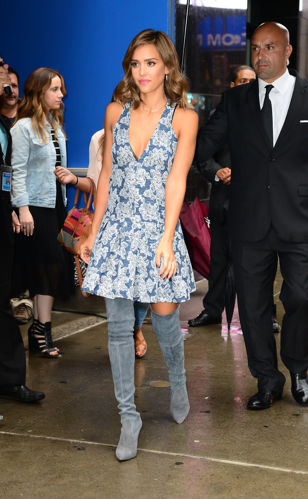 jessica alba fit and flare drop waist printed dres fall florals metallic brocade transitional dressing over the knee suede boots greige boots blue silber fall parties shower night out gtty