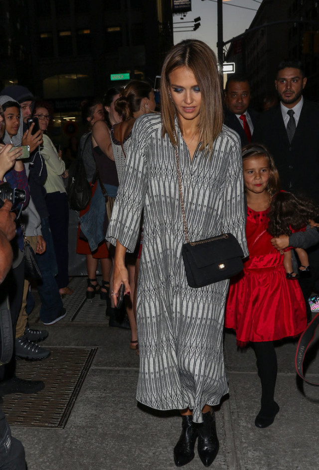 chelsea boots, winter outfit, ankle boots, booties, printed maxi dress, black and white, jessica alba