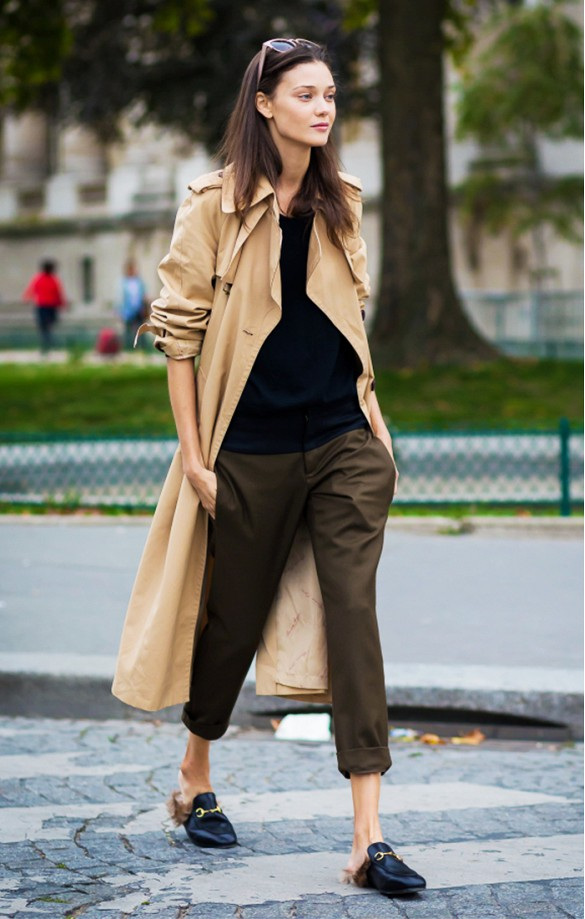 kahkis trench coat duster coat gucci fur mules gucci loafers army pants fal lneutrals weekend work style du monde