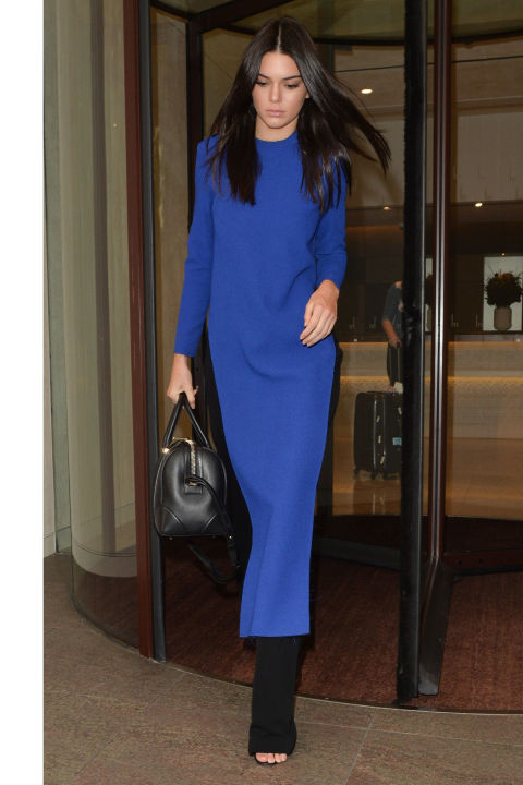kendall jenner cobalt black pants blue and black blue maxi dress minimalist modern long sleeve maxi dress over pants via elle