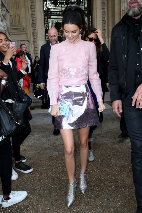 kendall jenner party shiny metallic mini skirt pink victorian blouse silver shoes getty