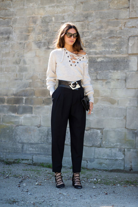 lace up shirt lace front shirt high waisted pants belted trousers 80s lace up heels paris fashion week street style fall outfits hbz
