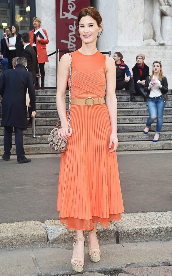 hanneli mustparta, belted dress, orange dress, pleated platforms fall spring weddings party showers goign out night out