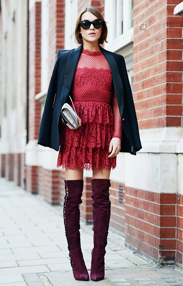 what to wear to holiday parties, red lace dress burgundy boots