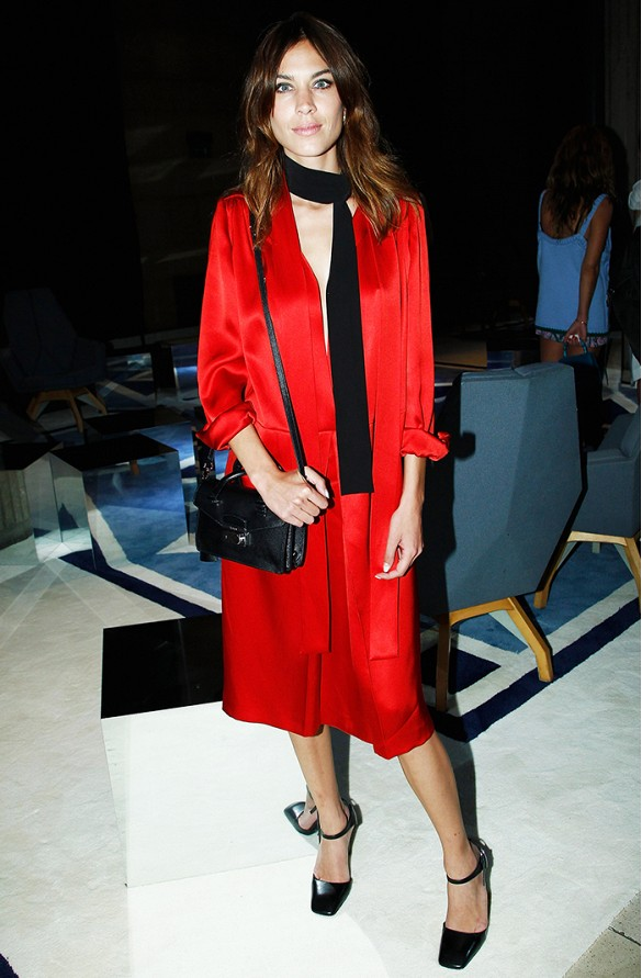 alexa chung red dress silk dress long sleeve dress black skinny scarf red and black getty