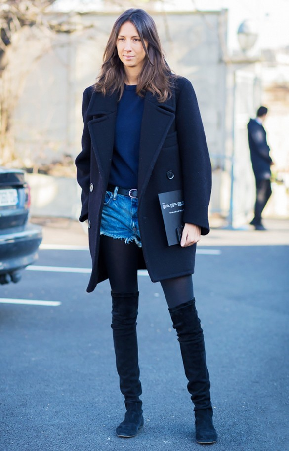 french style, cutoffs, shorts in fall winter, over the knee thigh high boots, navy and black, shorts and tights