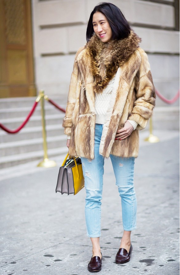 eva chen fur coat cropped jeans burgundy oxfords loafers fall weekend outfits, fisherman sweater whww