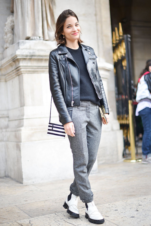 maria duenas jacobs mensear white creeper boots black leather mooto jacket grey trouser pants rolled pants black weater fall neutrals tomboy Paris-Fashion-Week-Day-7-1