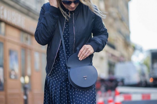 navy-polka dot printed dress navy bomber chloe bag--paris fashion week street style the styleograph