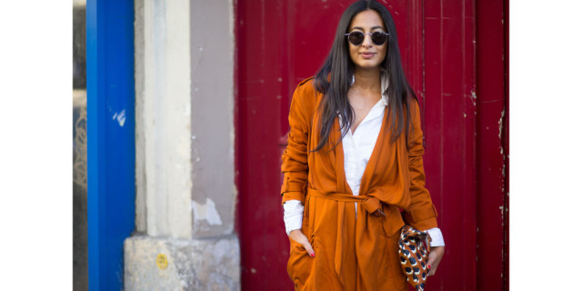orange robe sweater coat duster coat white oxford fall colors burnt orange nausheen shah paris fashion week street style fall outfits hbz