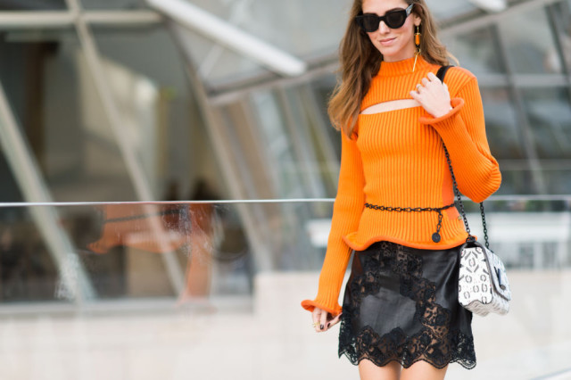 paris fashion week pfw street style elle orange cutout sweater lace leather mini skirt black and orange fall style school work cutout sweater chiara blonde salad