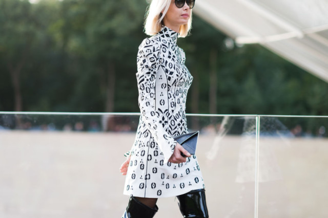 paris fashion week pfw street style elle turtleneck dress black and white geometric abstract prints fall dress printed dress thigh boots