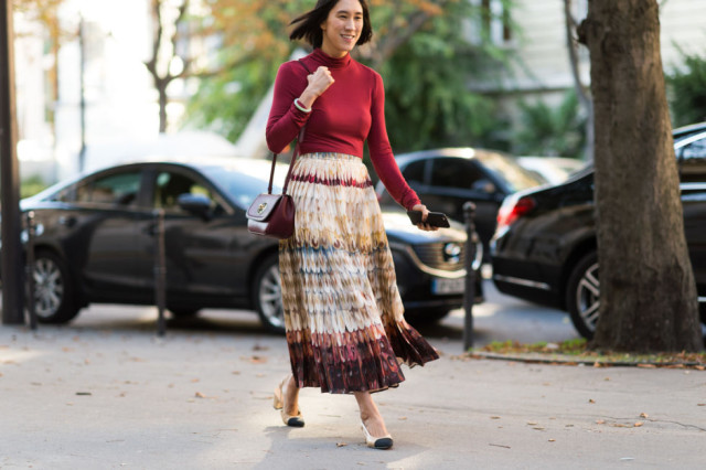 block heels, two tone chanel heels, eva chen, maxi skirt