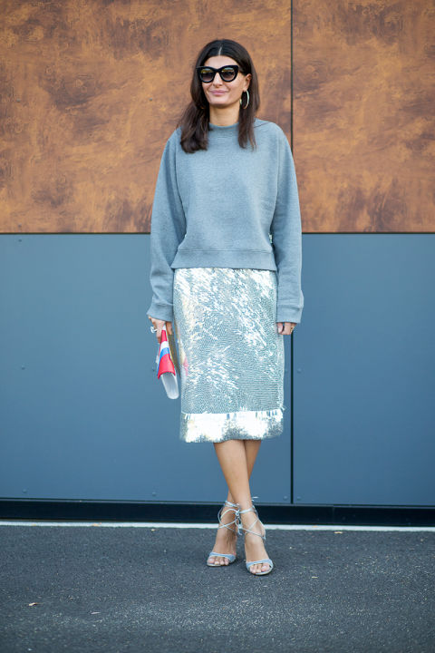 silver metallics shiny pencil skirt sweatshirt style hacks evening to day dressing night to day