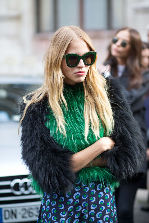 colored fur green emerald green paris fashion week street style
