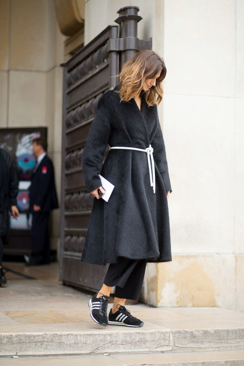 paris fashion week furry coat belted adidas sneaker