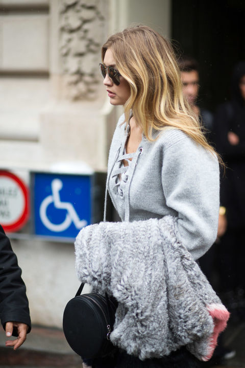 giig hadid lace front shirt grey gray fur paris fashion week street style