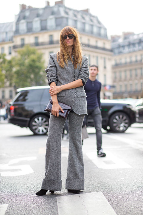 caroline de maigret grey gray suit cuffed paris fashion week