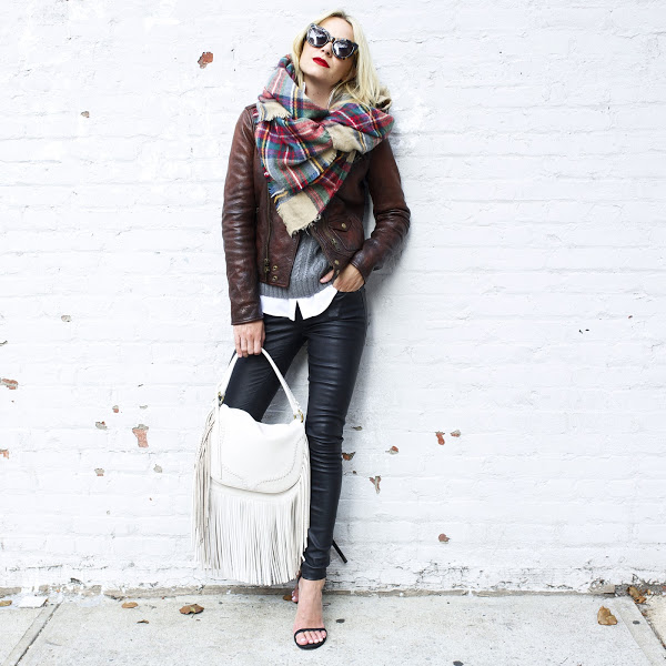 how to wear brown and black, plaid scarf black leather skinnies fringe bag-simple black sandals fall layers brown leather jacket tan fringe bag purse white purse bag-atlantic pacific fall weekend