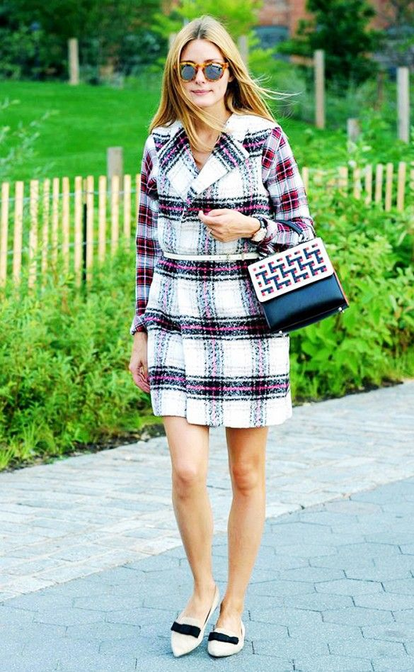 plaid shirt plaid sweater vest dress belted double plaid artan olivia palermo sleeveless vest style hacks www