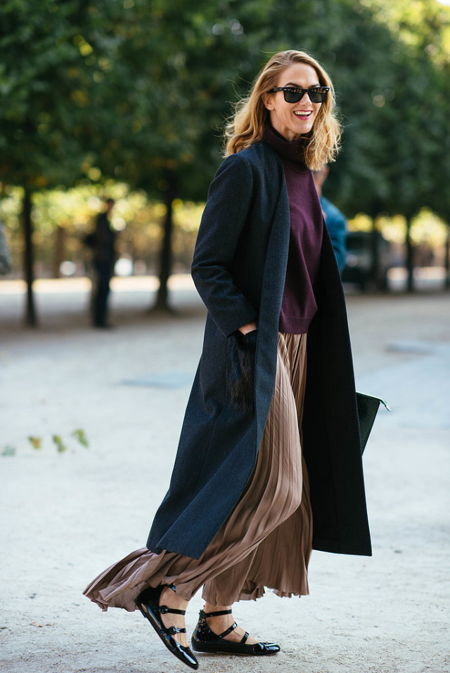 pleated maxi skirt lace up ballet flats burgundy turtleneck sweater navy duster coat fall colors brown tan fall maxi skirt jjj martin  Paris-Fashion-Week-Day-6