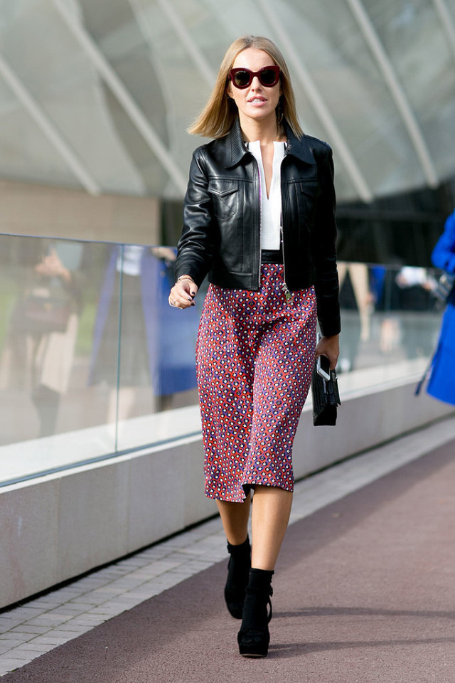 printed midi skirt booties black leather jacket fall prints boho Paris-Fashion-Week-Day-9