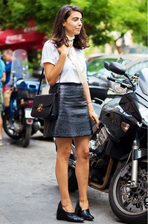 skinny scarf black mini skirt black and white block heel skinny scarf