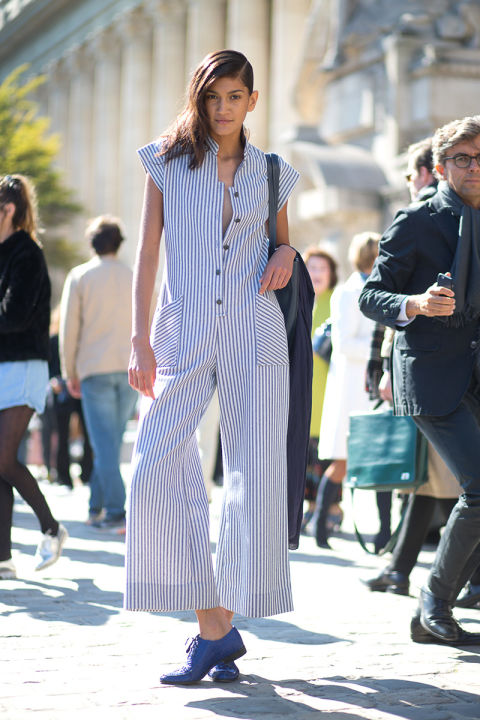 striped jupmsuit jumpsuit flared culottes jumpsuit blue broggues paris fashion week street style fall outfits hbz