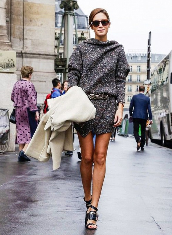 sweater dress beleted sandals fall outfit marled sweater knit via amlul