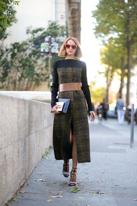 tweed plaid dress midi dress slit front dress belted tan leather sunglasses candela novembre paris fashion week street style fall outfits hbz