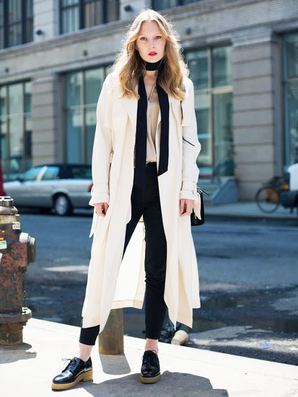 white coat duster coat black skinnies skinny scarf night out going out fashion squad