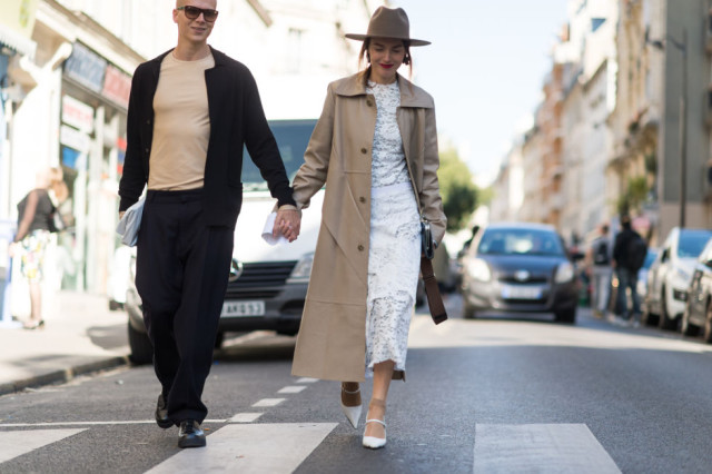 white lace midi dress camel coat wide brim hat white after labor day paris fashion week street style fall outfits ell
