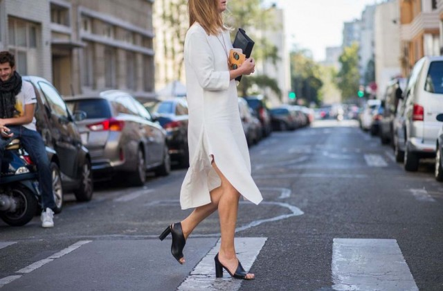 white tunic dress black peep toe booties mules black and white -paris fashion week street style the styleograph