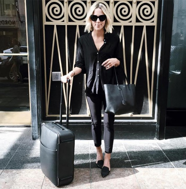 airport jetsetter style travel outfit all black suitcases damsel in dior