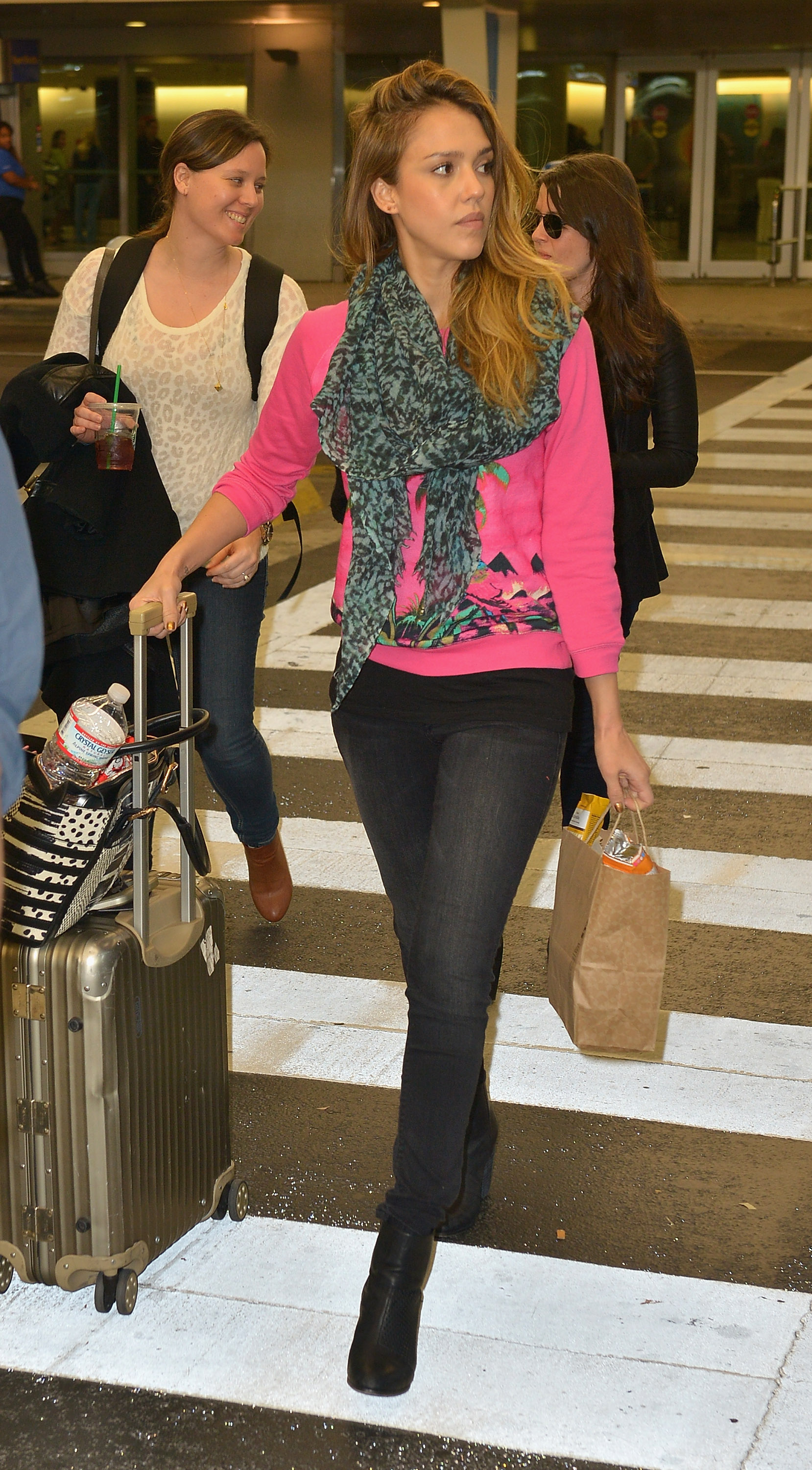 Airport Jetsetter Travel Flying Style Hot Pink Sweater Scarf Suitcase Jessica Alba Style