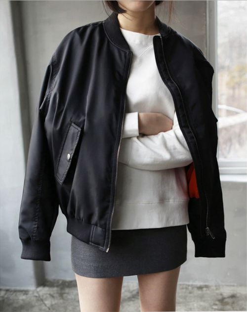 baseball jacket, black mini skirt black and white via