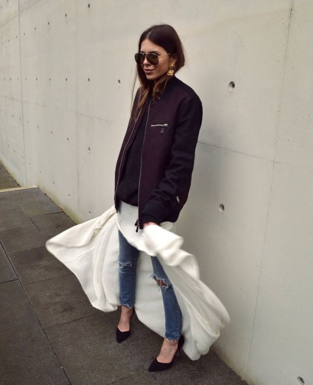 baseball jacket dress over pants ripped jeans fall layers pumps via myah