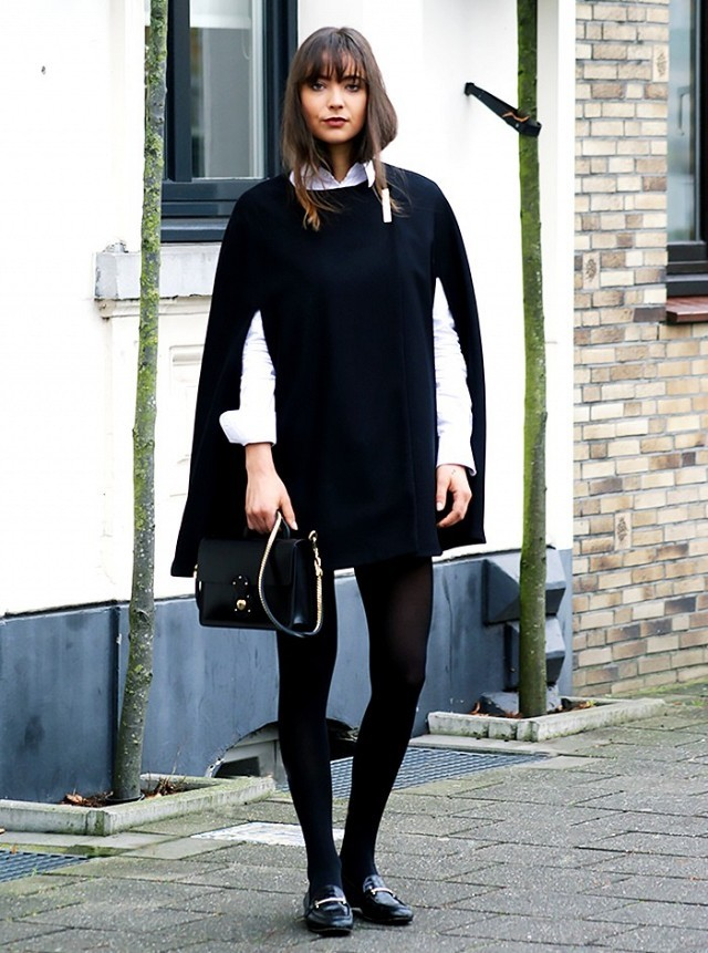 black and white white button up shirt oxford cape black tights black loafers gucci loafers black mini skirt via