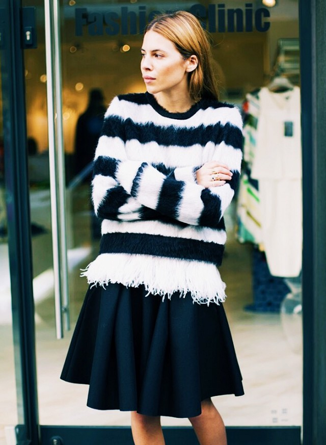 black fringe feathered sweater black and white sweater black knee skirt fall work outits going out night out maja wyh