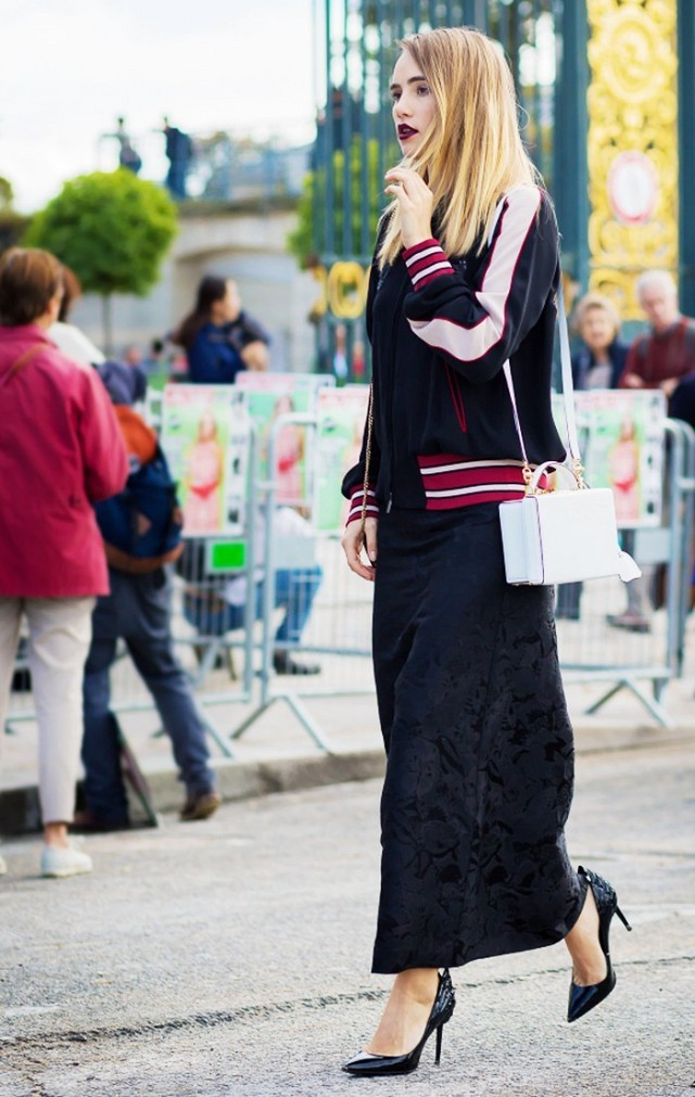 black suede maxi skirt black pumps baseball jacket white purse black white red
