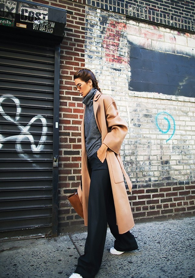 what to wear to work this week, black wide leg pants grey turtleneck camel coat white sneakers fall neutrals fall work outfit