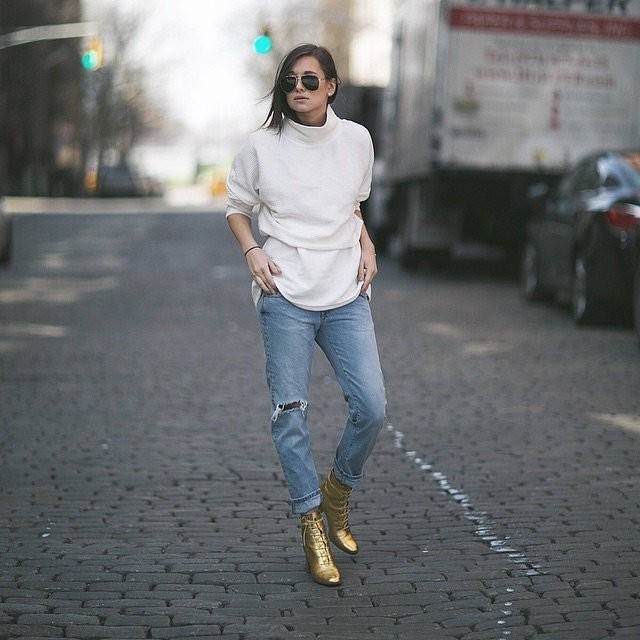 boyfriend jeans cuffed jeans gold booties turtleneck sweatshirt weworewhat instagram