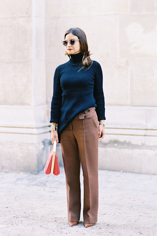 brown and black turtleneck color combos fall winter work outfit top handle bag fall neutrals