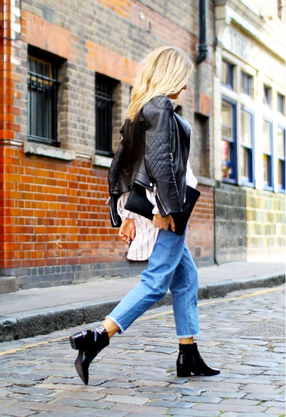 cropped jeans ank chelsea ankle boots frayed denim striped shirt black leather moto jacket envelope clutch via fashion me now