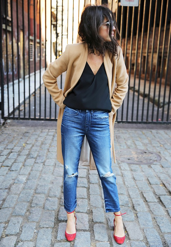 cropped jeans red ankle strap heels camel coat going out outfit fall outfits fall coats man repeller